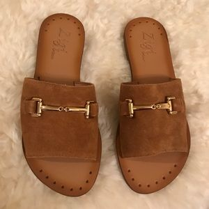 Suede Slide Sandals